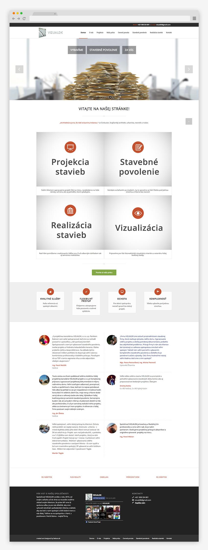 Web stránka VizualDK - Homepage screen