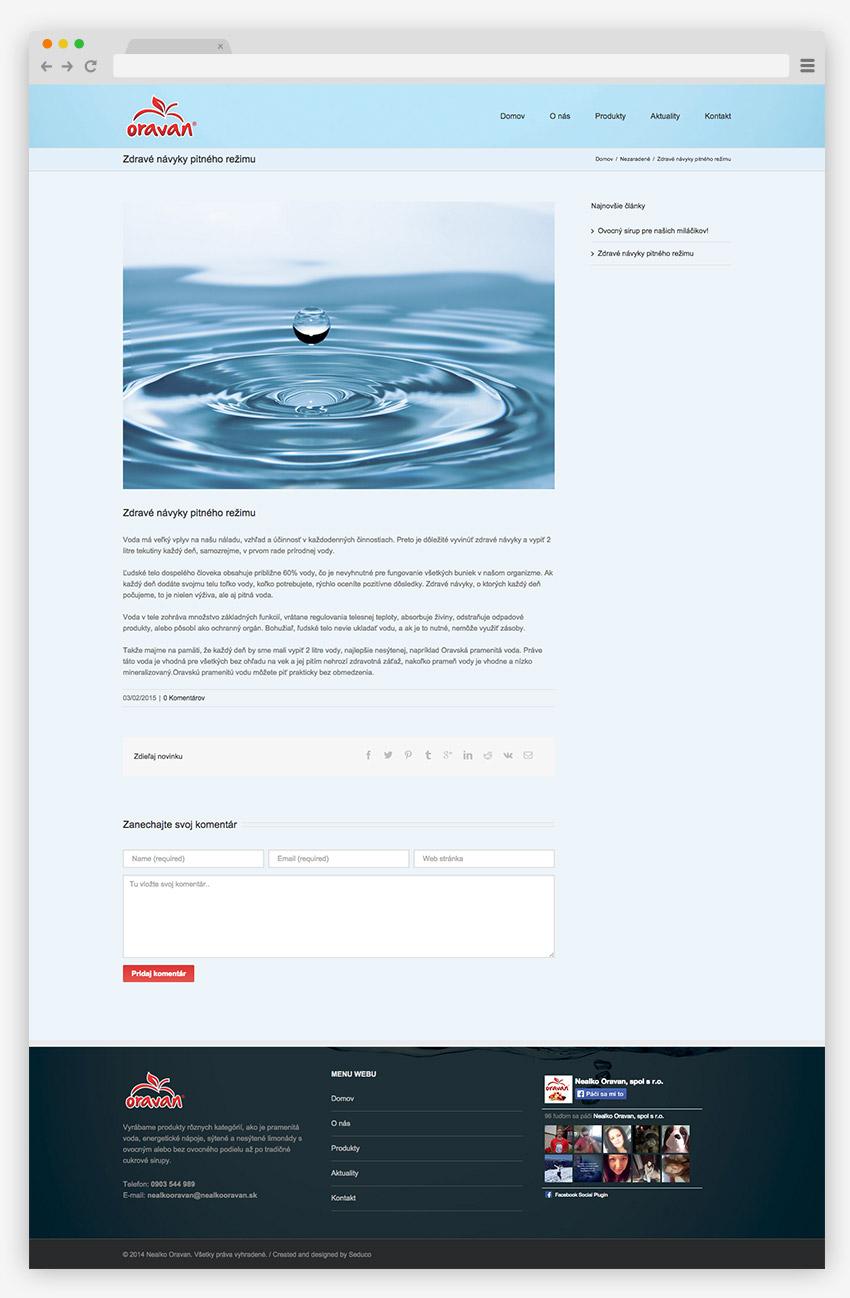 Web stránka Oravan - screen 2