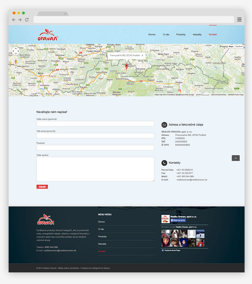 Web stránka Oravan - screen 3