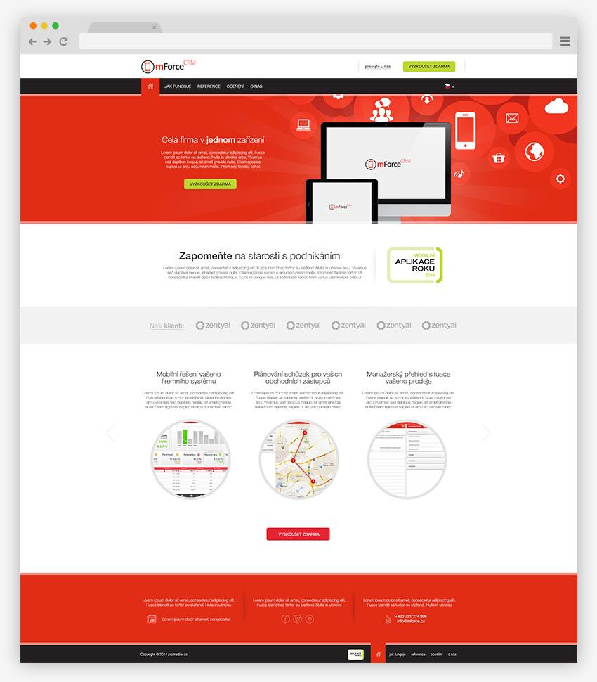 mFOrce mobilni crm homepage na web