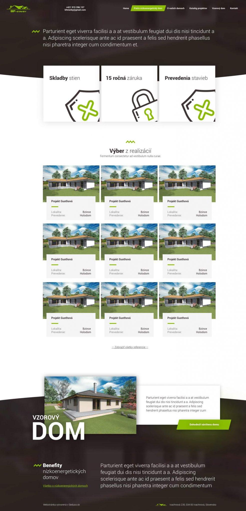 BF-stavby.sk - web redesign - o našich domoch