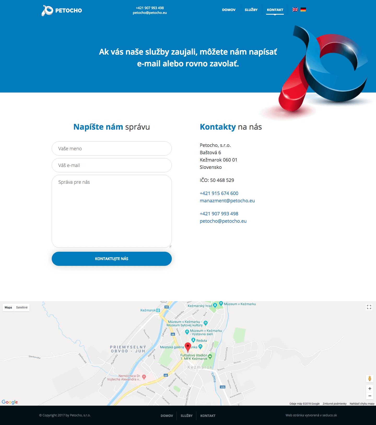 Petocho.eu - nová web stránka Wordpress - Kontakt