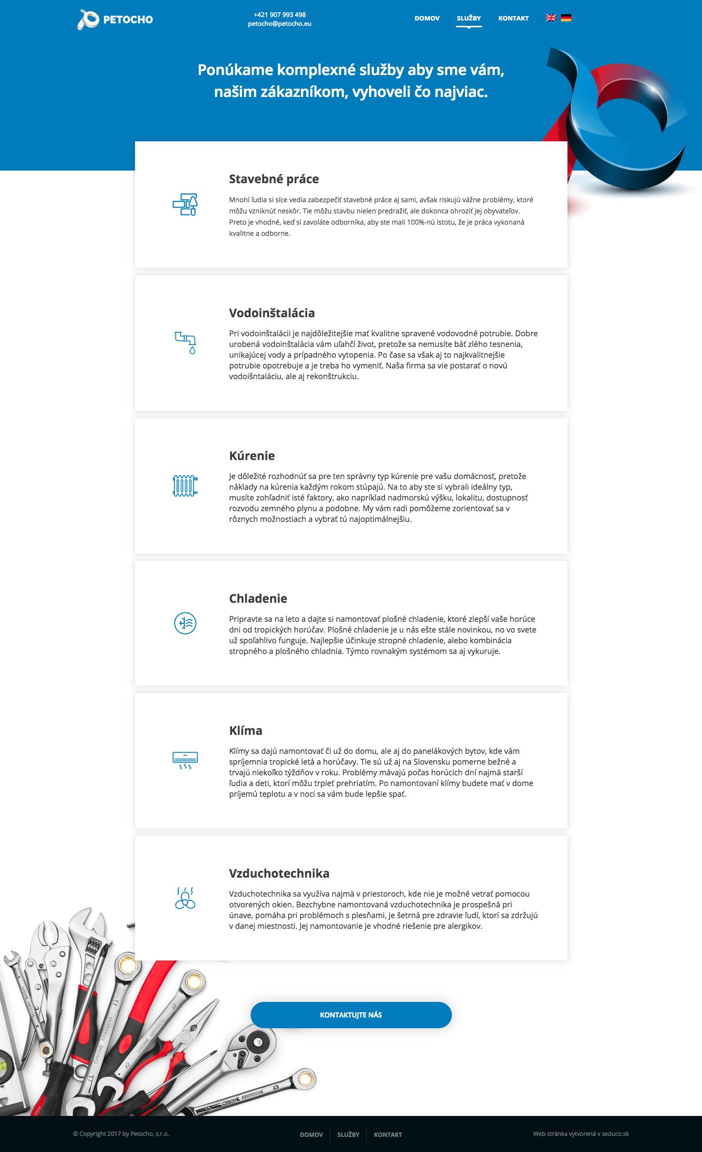 Petocho.eu - nová web stránka Wordpress - služby
