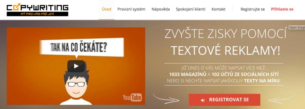 Copywriting.cz - pay per post systémy platených článkov