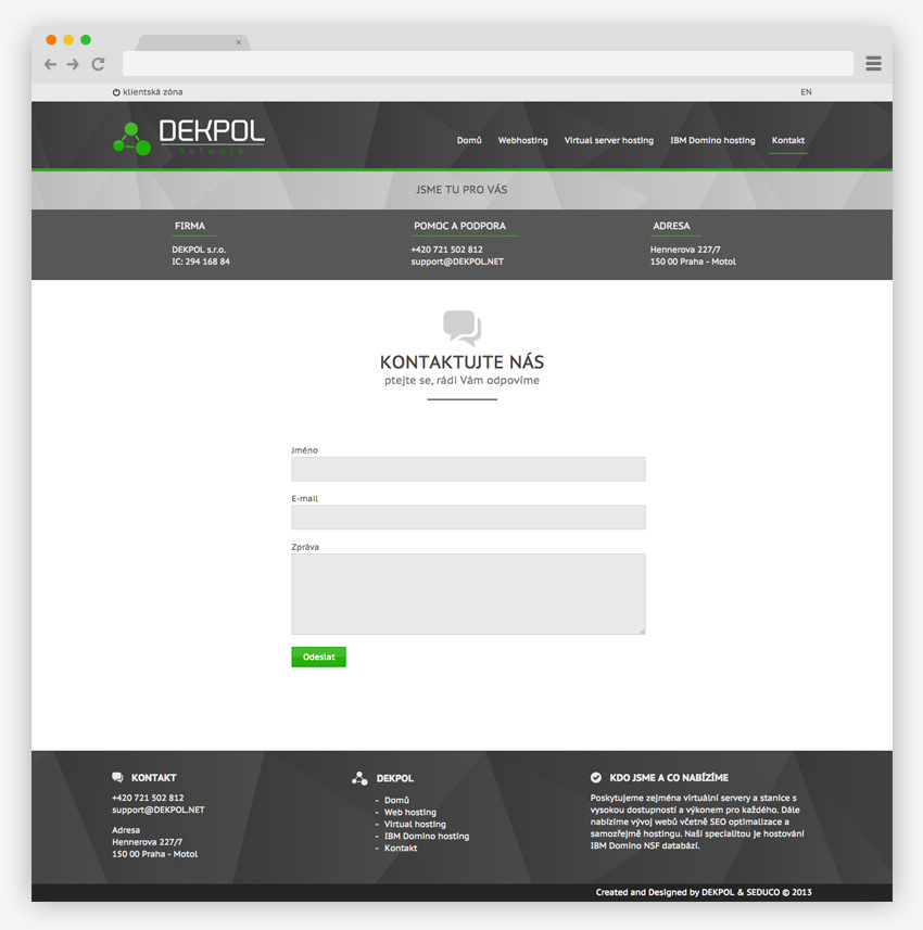 Webdesign pre Dekpol - ponuka hostingov