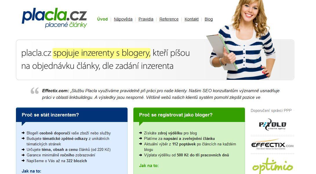 Pay per post systém Placla